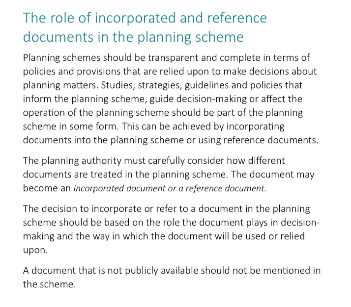 Extract from the Departmental Practice Note about Incorporated Documents